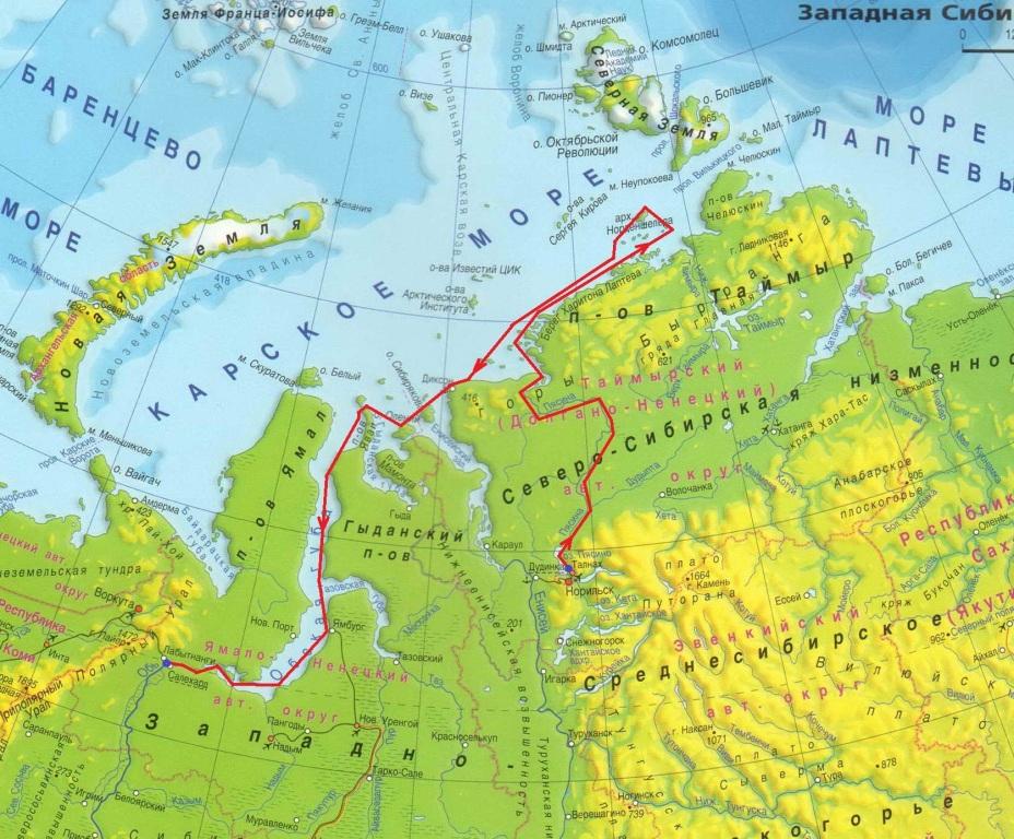 295Где на карте находится полуостров ямал