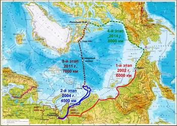 ...Архипелаг Северная Земля - Диксон) Третий этап: апрель - май 2005 г.; осень 2006 г. Схема маршрутов экспедиции.